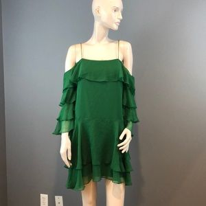 NWOT Alice + Olivia Green Ruffled Silk Dress Sz 8